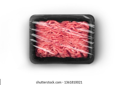 Black sealable plastic tray with fresh raw minced meat top-view. Packaging template mockup collection. With clipping Path included.