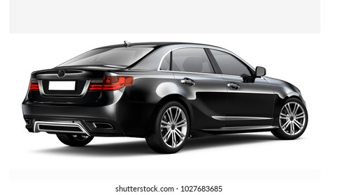 Black sedan car - rear angle (3D render)