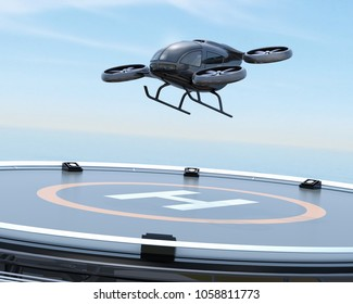 Black self-driving passenger drone takeoff from helipad. 3D rendering image.