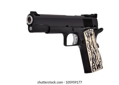 Black Semi Auto handgun on a white background