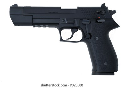 black semi automatic handgun isolated on white