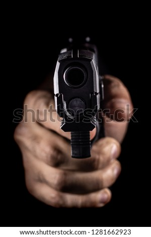 Black SemiAutomatic Handgun Pointed