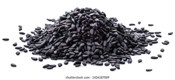 Black sesame seeds isolated on white background.