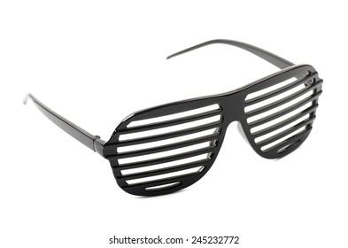 Black shades sunglasses on a white background