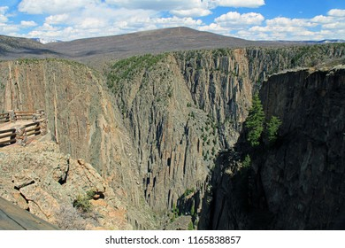 Black Shadow copy space in Black Canyon of the Gunnison National Park and recreation area at Tomichi Point, near Montrose, Colorado, USA.