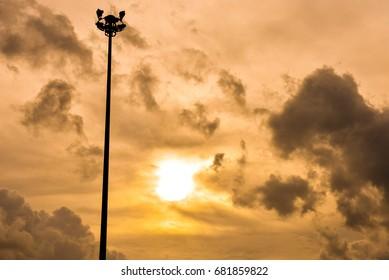 Black shadow - electric pole - Sunrise