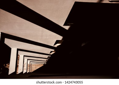 Black shadows on a modern architectural building isolated unique photo