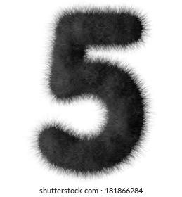 Black shag 5 number font isolated on white background