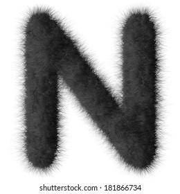 Black shag N letter isolated on white background