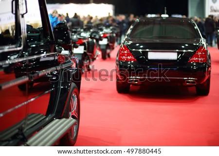 Black Shiny Cars On Red Carpet Stock Photo Edit Now - Car show carpet