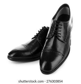 Black shiny man shoes isolated on white