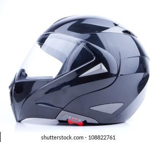 Black, shiny motorcycle helmet Isolated on white background