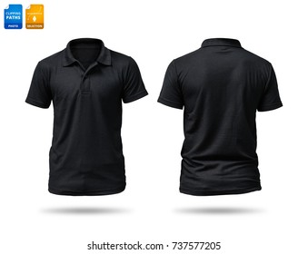 Black shirt isolated on white background. Template of cotton shirt for your design. Clipping paths object.