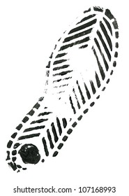 Black shoe print on white background