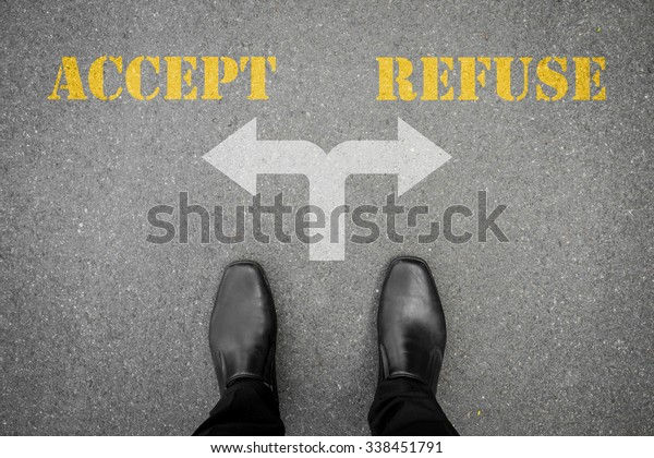 Black shoes has decision to make at the cross road - accept or refuse