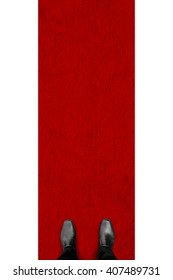 Black shoes standing on the red carpet and white background