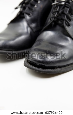 ded483fc4eb4 Black Shoes Worn Out Stock Photo (Edit Now) 637936420 - Shutterstock