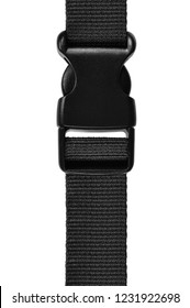 Black side release acculoc buckle plastic clasp, quick nylon belt rope lock strap, isolated macro closeup, large detailed vertical accessory studio shot