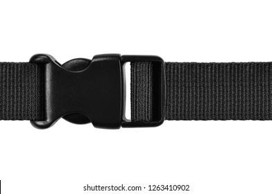 Black side release acculoc buckle plastic clasp. Guick nylon belt rope lock strap. Isolated macro closeup, large detailed horizontal accessory studio shot
