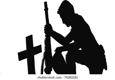 Black Silhouette against a white background of a solider kneeling with his rifle at the cross marked cemetery grave of a fallen brother in arms