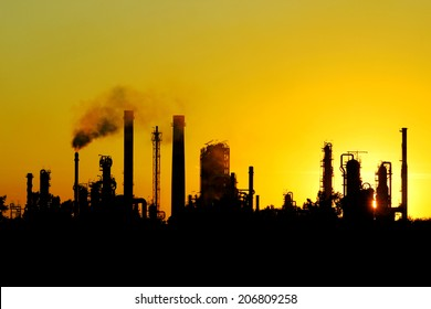 black silhouette of big crude oil refinery from Russia