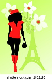 Black silhouette of the girl on a green background with flowers and Tour d'Eiffel.
