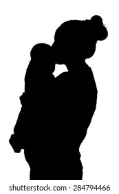 black silhouette of mother and baby on a white background