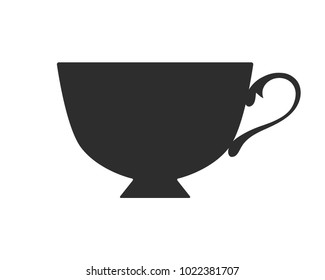 Black silhouette of mug for drinks. Flat icon, object of cup for tea or coffee.