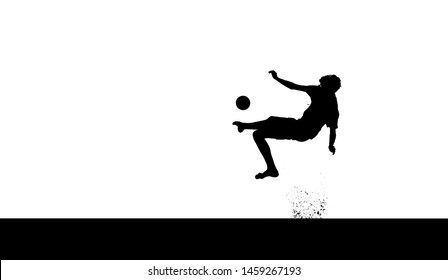 Black silhouette of a teenage boy showing a bicycle kick with a soccer ball (white background)