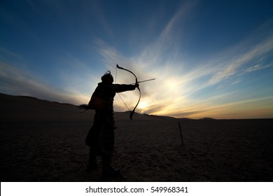 Black silhouette of warrior, archer, ancient, asian soldier