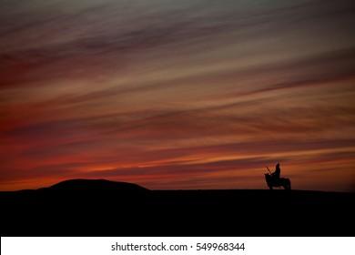 Black silhouette of warrior on horse, mongol horseman