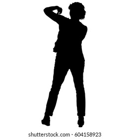 Black silhouettes of beautiful woman with arm raised. illustration.