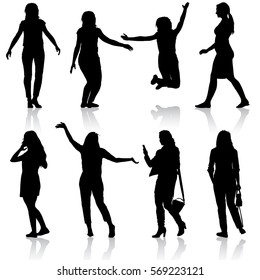 Black silhouettes of beautiful woman on white background. illustration.