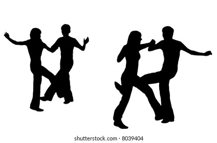 Black silhouettes of dancing young people on a white background.