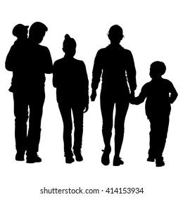 Black silhouettes Family on white background. illustration.