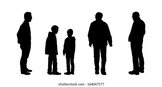 black silhouettes of men of different age standing and watching something carefully, front, back and profile views