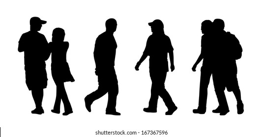 black silhouettes of ordinary men, women and couples of different ages walking outdoor, back and profile view