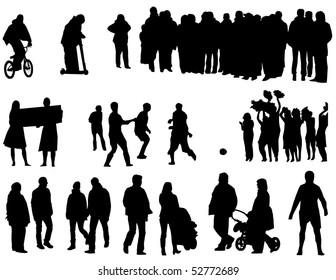 The black silhouettes of the people.