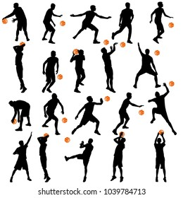 Black silhouettes set of men playing basketball on a white background.