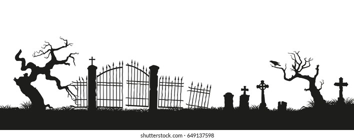 Black silhouettes of tombstones, crosses and gravestones. Elements of cemetery. Graveyard panorama.