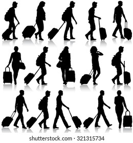 Black silhouettes travelers with suitcases on white background.  illustration.