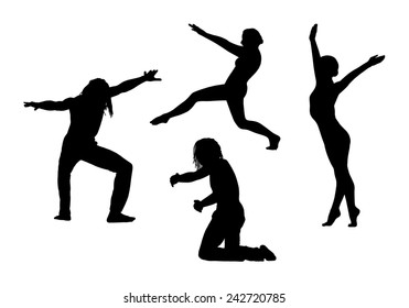 black silhouettes of young men and women in motion in different postures