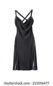 Black silk formal dress with open back isolated over white