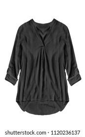 Black silk oversized blouse on white background