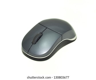 Black silver computer mouse isolated on white background