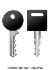 black and silver keys isolated over white background