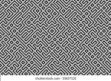 black silver labyrinth or maze background
