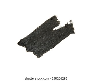 black silver metallic creamy eyeshadow isolated on white background