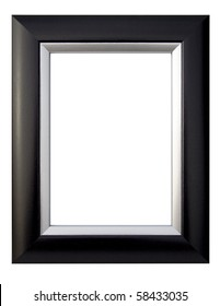 A black and silver picture frame, isolated with clipping path.