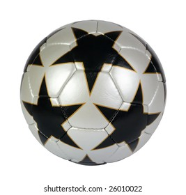 black, silver, star soccer ball on a white background